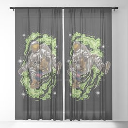 Skater Astronaut | Galaxy Universe Skateboard Sheer Curtain