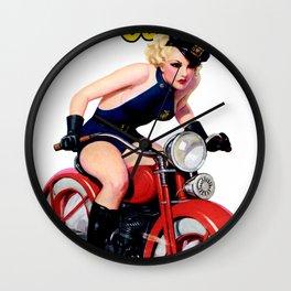 Retro Motorcycle Pinup Girl Wall Clock