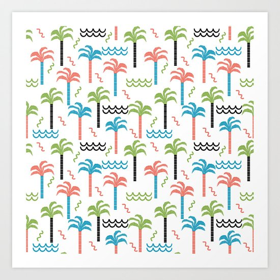 summer tropical shapes modern minimal abstract pattern trendy gifts Art Print