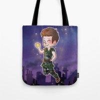 peter pan Tote Bags featuring Peter Pan by Sunshunes
