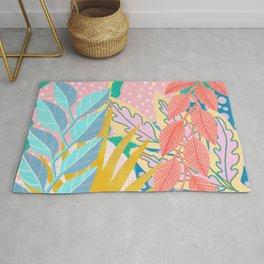 Modern Jungle Plants - Bright Pastels Rug