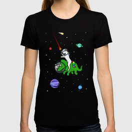 Unicorn Riding Triceratops In Space T-shirt