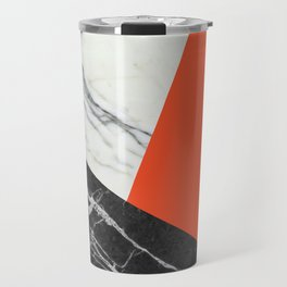 Black and White Marble with Pantone Flame Color Travel Mug