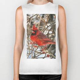 Winter Cardinal by Teresa Thompson Biker Tank