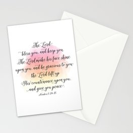 The Lord bless you, and keep you. The Lord make his face shine upon you, and be gracious to you Stationery Cards
