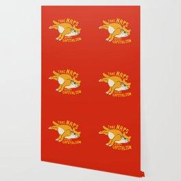 Anti-Capitalist Communist Cat - Take Naps, Destroy Capitalism Red Wallpaper