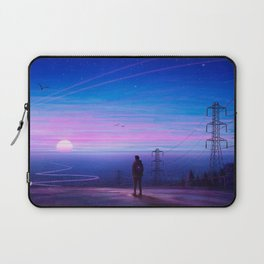 Lone Backpacker Wanderer Beautiful Hillside Ocean Sunset View Ultra HD Laptop Sleeve