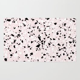 'Speckle Party' Blush Pink Black White Dots Speckle Terrazzo Pattern Rug