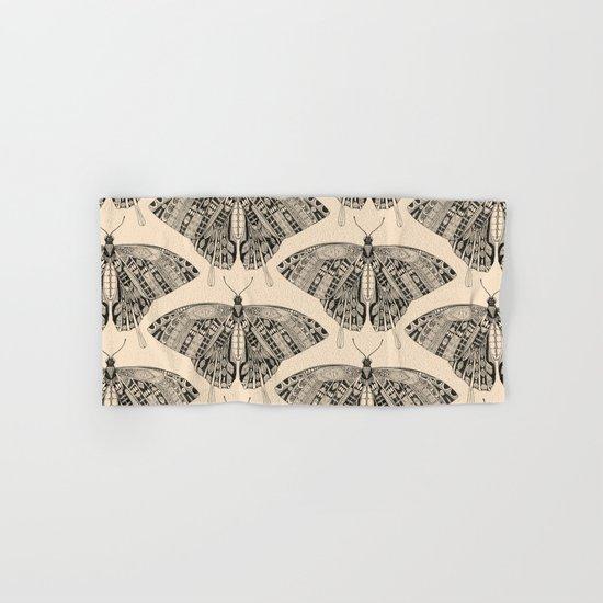 swallowtail butterfly pale peach black Hand & Bath Towel
