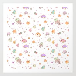 Cute sea creatures pattern Art Print