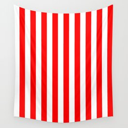 Narrow Vertical Stripes - White and Red Wall Tapestry