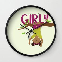 Positively girly - black tree girl Wall Clock