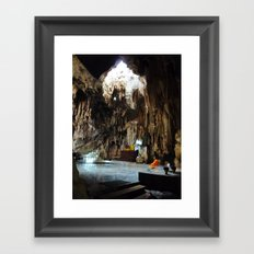 Monk in Cave Temple Framed Art Print