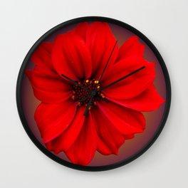 Red dahlia-bishop-of-llandaff Wall Clock
