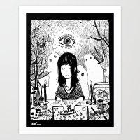 ouija Art Prints featuring Ouija by Rachel Star Art