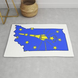 Indiana Map with Indiana State Flag Rug