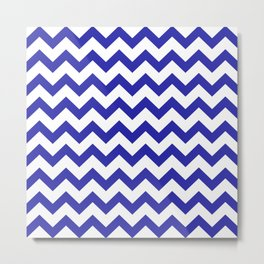 Chevron (Navy & White Pattern) Metal Print