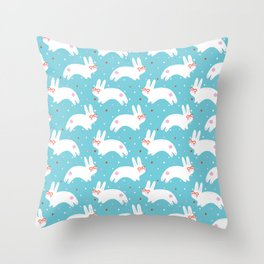 Happy Bunnies with Glasses Throw Pillow