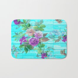 Vintage Floral with Butterflies Bath Mat