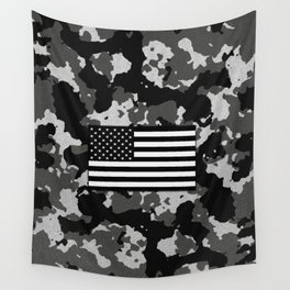 Camo Proud American Flag Wall Tapestry