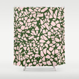 Stone Pattern - Salmon Pink & Olive Green Shower Curtain