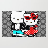 rockabilly Area & Throw Rugs featuring Rockabilly Kitty by BURPdesigns