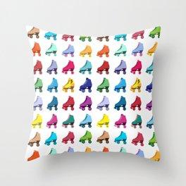 Rainbow Roller Skatin' Throw Pillow