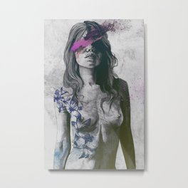 To The Marrow: Purple (faceless nude woman with lilies tattoos) Metal Print