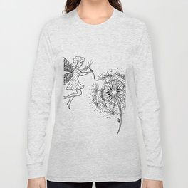 Fairy picking up dandelion seed Long Sleeve T-shirt