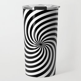 Black And White Op Art Spiral Travel Mug