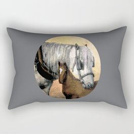 Plow Horse and Foal Rectangular Pillow