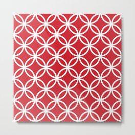 Cercle Lattice White on Red Metal Print