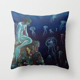 The Sleeping Mermaid Throw Pillow