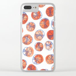 Red dots with blue wheels Clear iPhone Case