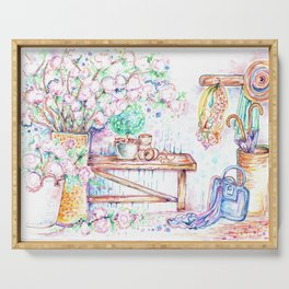 Flowers and bench Serving Tray