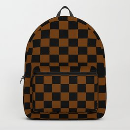 Black and Chocolate Brown Checkerboard Backpack