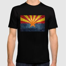 State flag of Arizona in Vintage Grunge X-LARGE Black Mens Fitted Tee