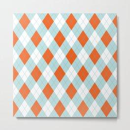 Aqua, Mint and Coral Orange Argyle Pattern Metal Print