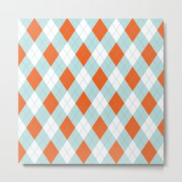Aqua, Mint and Coral Orange Argyle Pattern Metal Print