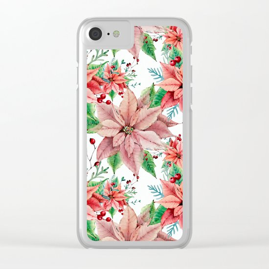 Red Poinsettia Clear iPhone Case