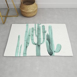 Turquoise Cactus Watercolor Painting Rug