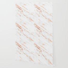 Rose Quartz Foil on Real White Marble Wallpaper