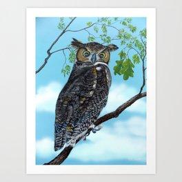 Great Horned Owl cloudy sky Art Print
