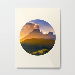 Sunrise Over The Mountains Trees & Rolling Hills Metal Print