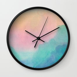 Pastel Sunset Scenery - Watercolor Painting Wall Clock