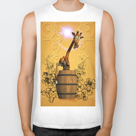 Funny, sweet giraffe Biker Tank