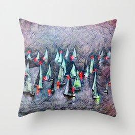 SAILBOAT BAY-Afterglow Throw Pillow