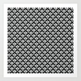 Diamond leaf pattern in black Art Print