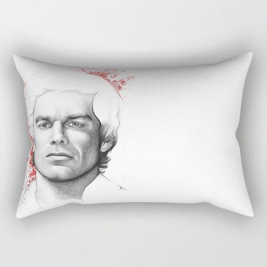 Dexter Morgan Portrait, Blood Splatters Rectangular Pillow