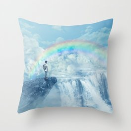 waterfall in the sky Throw Pillow